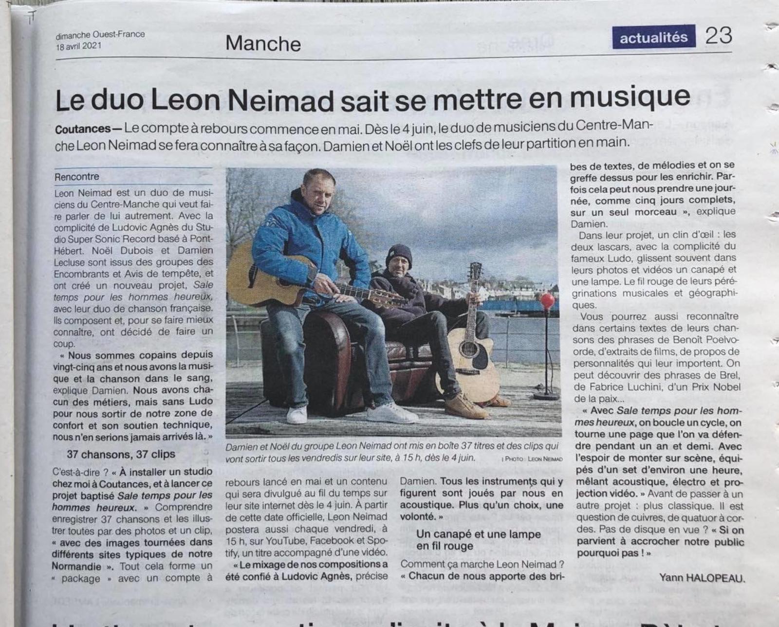 LEON NEIMAD dans Ouest France